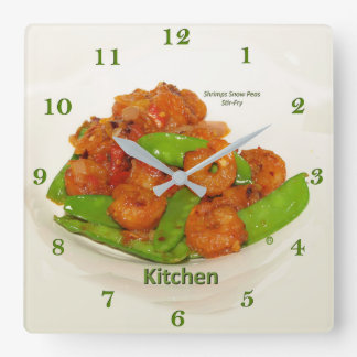 Shrimps Snow Peas Oyster Stir-Fry Square Wall Clock