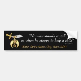 "Shrine Bumper Sticker ""No man stands so tall ..."""