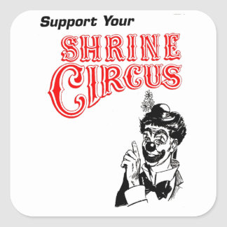 Shrine Circus Clown Square Sticker