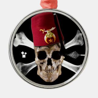 Shriner Fes inclinada cráneo masónico Adorno Redondo Plateado