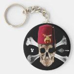 Shriner Masonic  Skull and Bones with Fez Basic Round Button Keychain