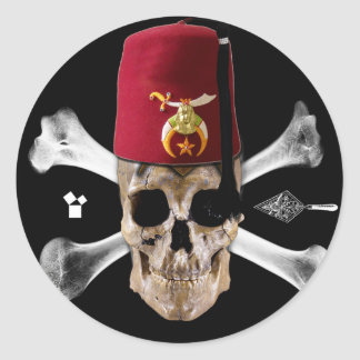 Shriner Masonic  Skull and Bones with Fez Classic Round Sticker