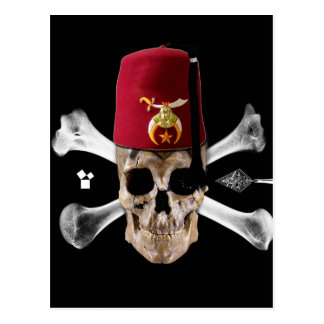 Shriner Masonic  Skull and Bones with Fez Postcard