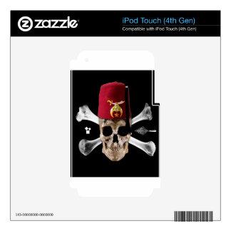 Shriner Masonic  Skull and Bones with Fez Skins For iPod Touch 4G