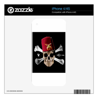 Shriner Masonic Skull Tipped Fez. Decals For iPhone 4