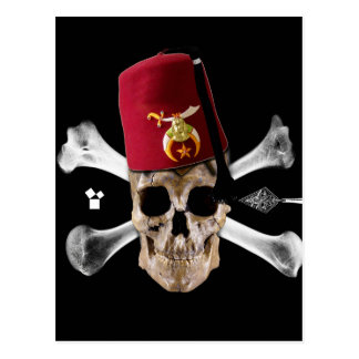 Shriner Masonic Skull Tipped Fez. Postcard