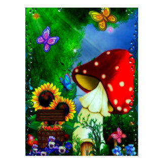 Shroom Gully Whimsical Fantasy Art Postcard