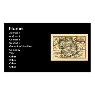 Shropshire County Map, England Double-Sided Standard Business Cards (Pack Of 100)