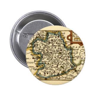 Shropshire County Map, England Pinback Button