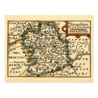 Shropshire County Map England Postcard