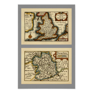 Shropshire County Map, England Posters