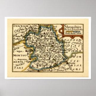Shropshire County Map, England Print