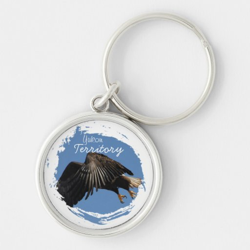 Shrouded by Wings; Yukon Territory Souvenir Silver-Colored Round Keychain