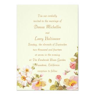 Shrub Roses Cornsilk Wedding Invitation