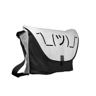 Shrug Emoticon ¯\_(ツ)_/¯ Japanese Kaomoji Courier Bag