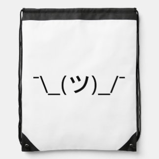 Shrug Emoticon ¯\_(ツ)_/¯ Japanese Kaomoji Drawstring Backpack
