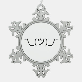 Shrug Emoticon ¯\_(ツ)_/¯ Japanese Kaomoji Snowflake Pewter Christmas Ornament