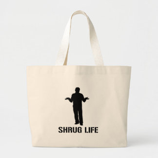 Shrug Life, Pun on Thug Life, Shrugging Funny Gag Large Tote Bag