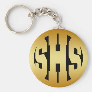 SHS - HIGH SCHOOL INITIALS IN GOLD TEXT BASIC ROUND BUTTON KEYCHAIN