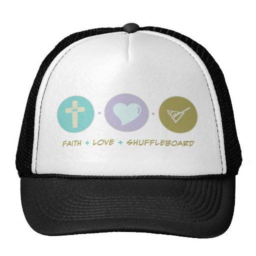 Shuffleboard del amor de la fe gorra