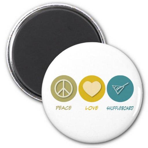 Shuffleboard del amor de la paz iman de frigorífico