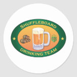 Shuffleboard Drinking Team Classic Round Sticker