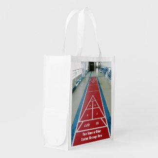 Shuffleboard on Board Custom Grocery Bags