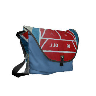 Shuffleboard on Board Red and blue Courier Bags