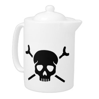 Shuffleboard skull teapot