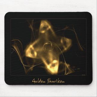 Shuriken de oro alfombrillas de ratón