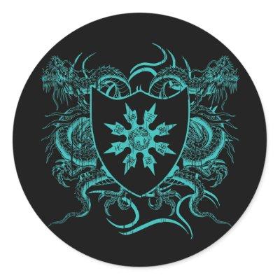 Shuriken Dragons Round Sticker $ 5.95