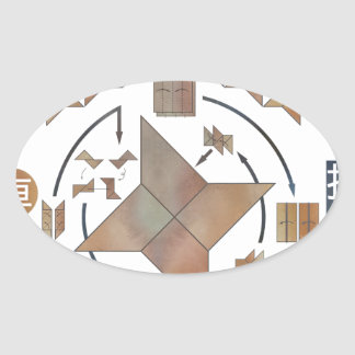 Shuriken Origami Oval Sticker