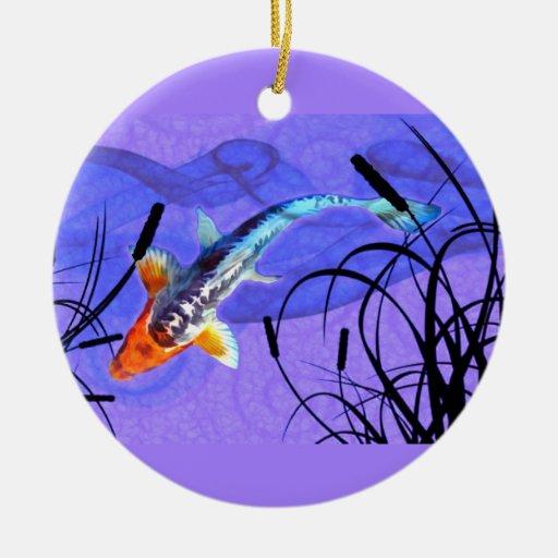 Shusui Koi en la charca púrpura con Cattails Adorno De Navidad