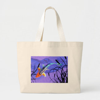 Shusui Koi in Purple Pond with Cattails Tote Bags