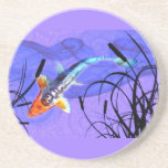 Shusui Koi in Purple Pond with Cattails Drink Coasters