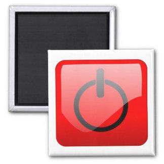 Shut Down Button Symbol 2 Inch Square Magnet