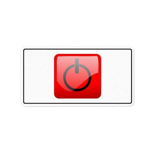 Shut Down Button Symbol Custom Address Labels