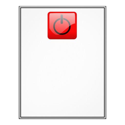 Shut Down Button Symbol Customized Letterhead