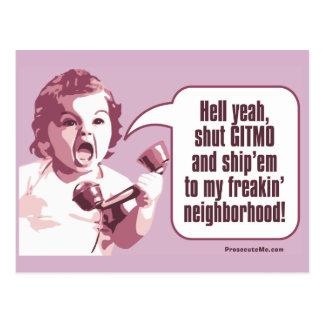 Shut Gitmo - Angry Baby Freaks Out Postcard