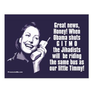 Shut Gitmo - Woman on the phone Postcard