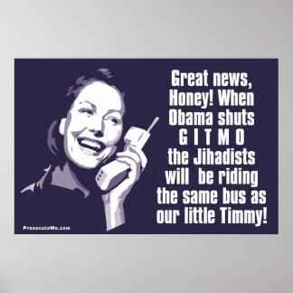 Shut Gitmo - Woman on the phone Poster