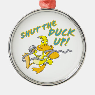 shut the duck up duct tape duck toon round metal christmas ornament