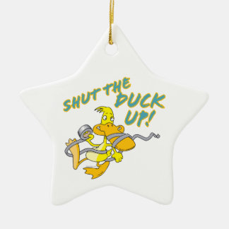 shut the duck up duct tape duck toon Double-Sided star ceramic christmas ornament