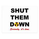 Shut Them Down Anti-Nuclear Slogan Postcard