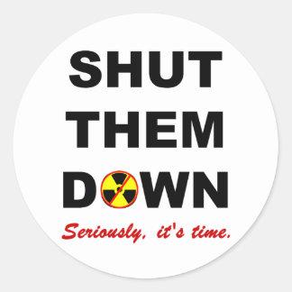 Shut Them Down Anti-Nuke Slogan Classic Round Sticker