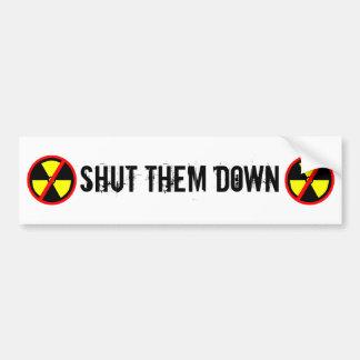 Shut Them Down Custom Anti-Nuclear Slogan Car Bumper Sticker