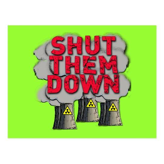 SHUT THEM DOWN Nuclear Power Plant Tshirt Postcard