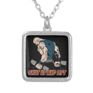 Shut Up and Lift Weightlifter Silver Plated Necklace