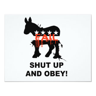 """Shut up and obey 4.25"""" x 5.5"""" invitation card"""
