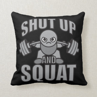 Shut Up And Squat - Cute Kawaii Weightlifter Throw Pillow
